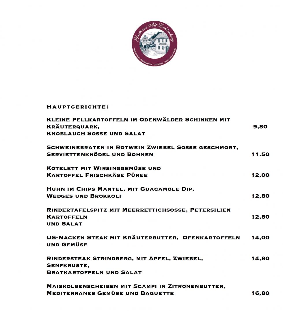 Aktualisierte Speisekarte im März 2015